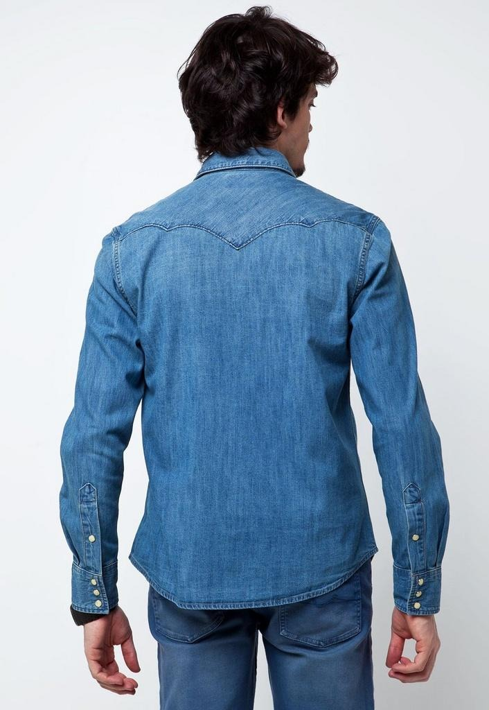3532509666 Camisa Jeans Wrangler Washed 696.1b.2m.50 - R$ 271,86 em Mercado Livre
