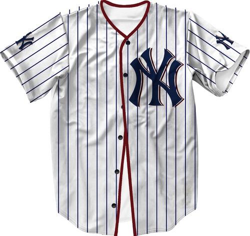 camisa jersey baseball ny liga americana swag
