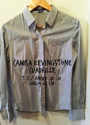camisa kevingston mujer cuadrille celeste blanco talle 2