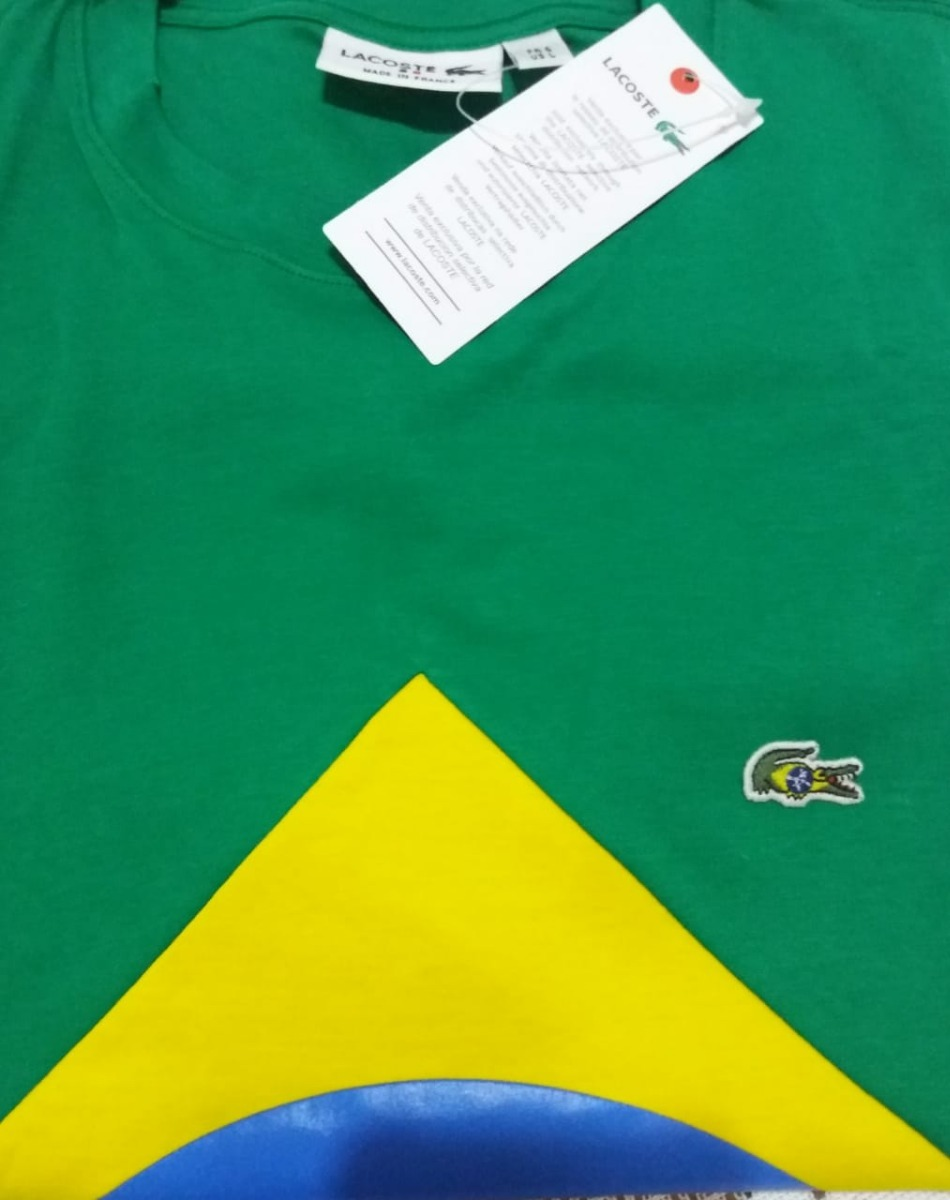 c770af4018b0f Camisa Lacoste Brasil Manga Curta - R  100,00 em Mercado Livre