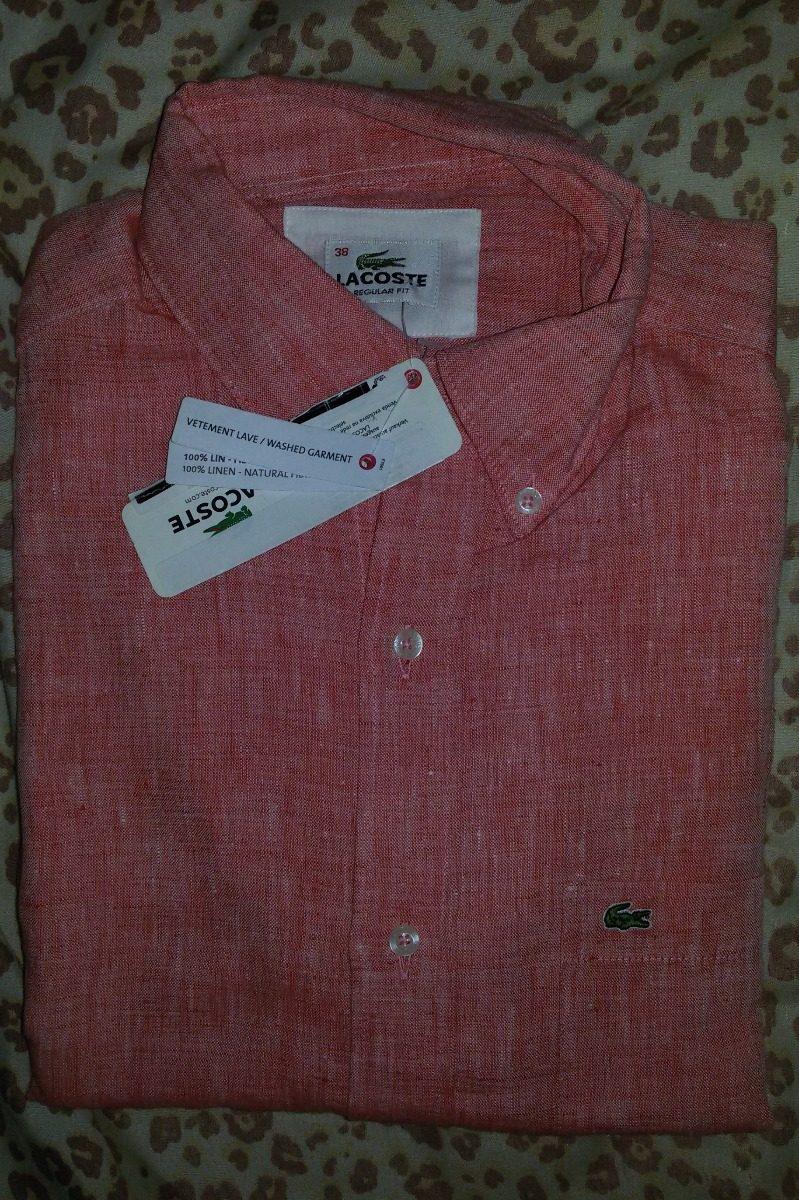 Camisa Lacoste Manga Curta Linho Tamanho 38 p Confort - R  250,00 em Mercado  Livre 479bc3332b