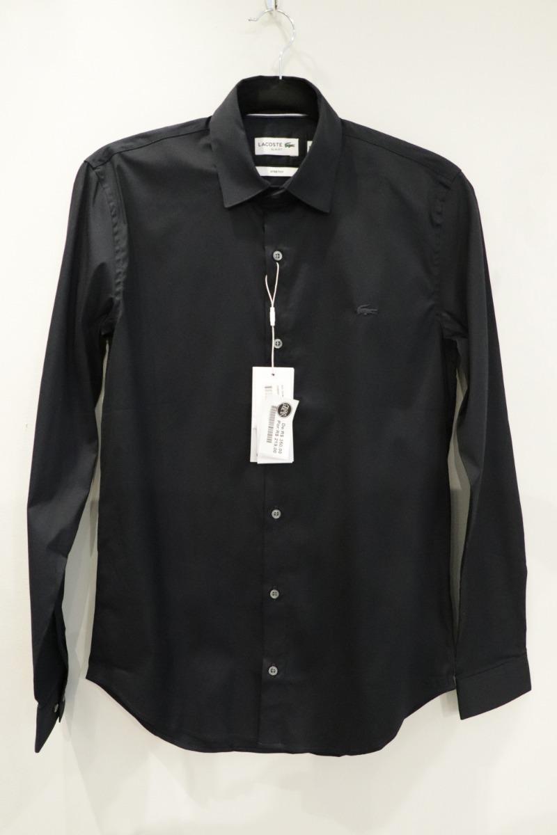 2d6caf57bac05 Camisa Lacoste Manga Longa Slim Fit Preta - R  276,99 em Mercado Livre