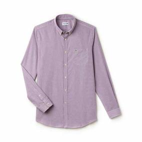 A Lacoste Original Camisa Púrpura Pcaballero Casual Rayas fgbY6y7v