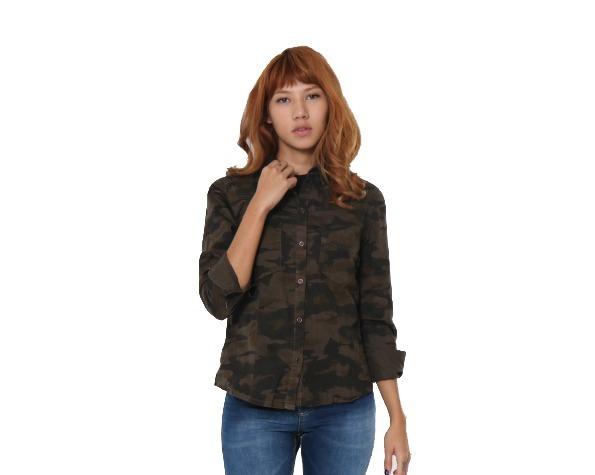b91ba192f36e0 Camisa Lady Rock Verde Militar Manga Longa Frete Grátis - R  129