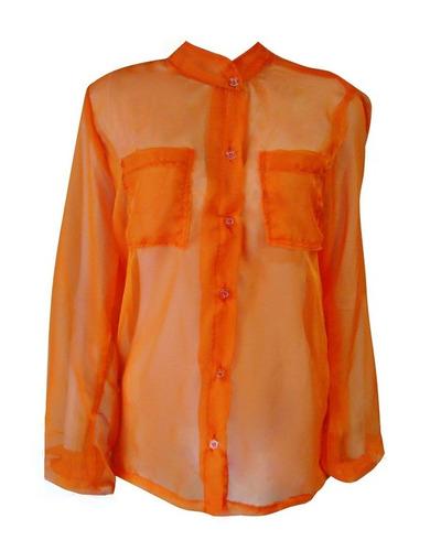 camisa laranja com bolsos em musseline de seda