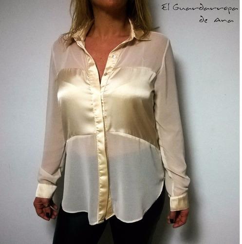 camisa larga mujer gasa cuello guarda satén l