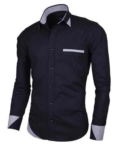 camisa lcc104 black  marca la chaqueteria