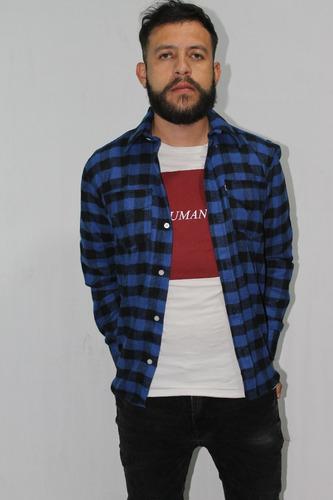 camisa leñadora slim fit cuadros blanca negra roja azul