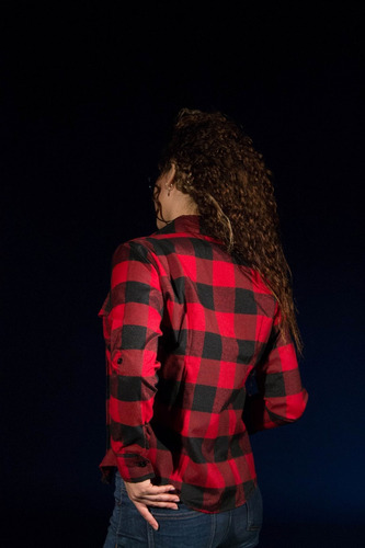 camisa leñadora slim fit cuadros blanca roja negra