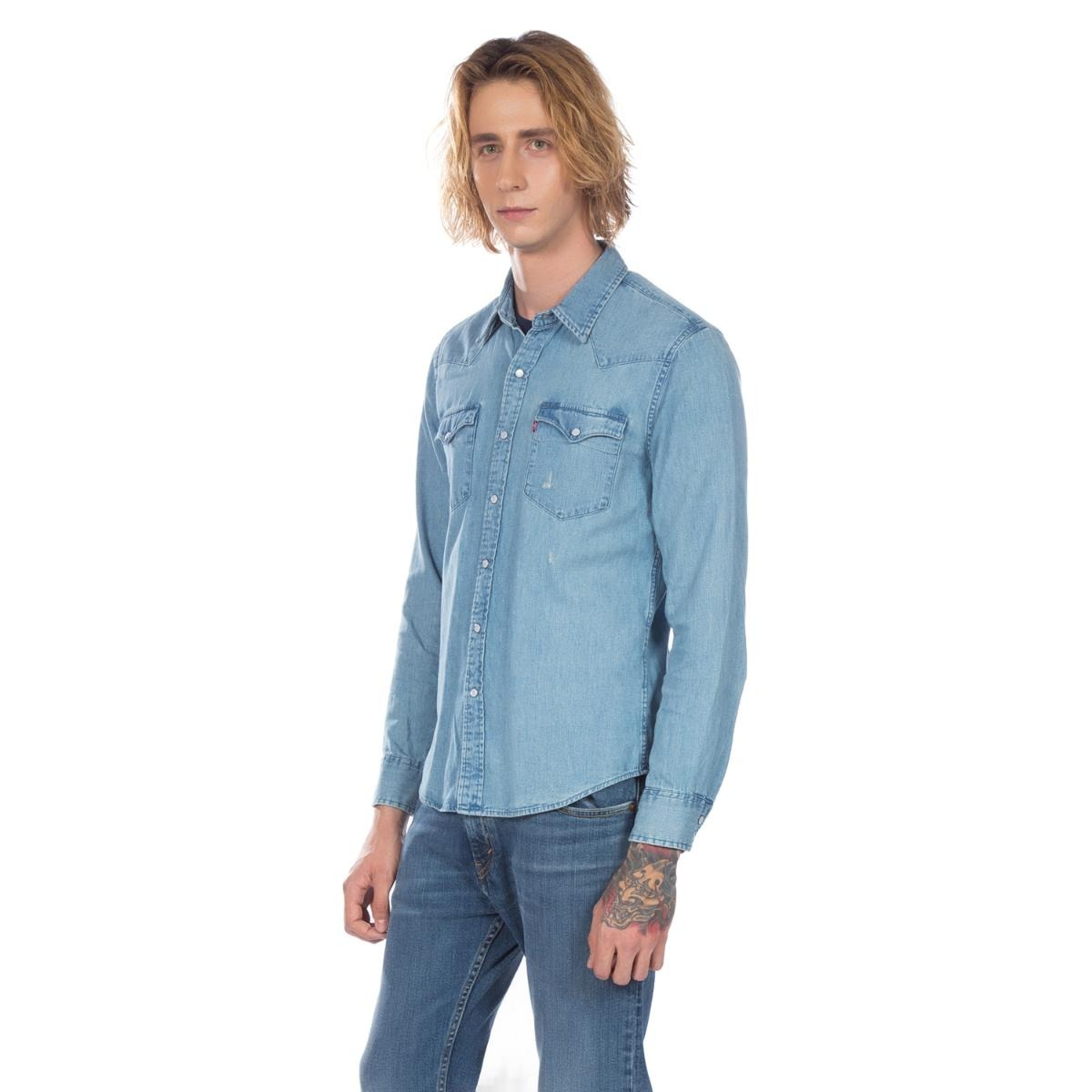 camisa levis jeans masculino classic western azul claro. Carregando zoom. c0fbb1dbec6