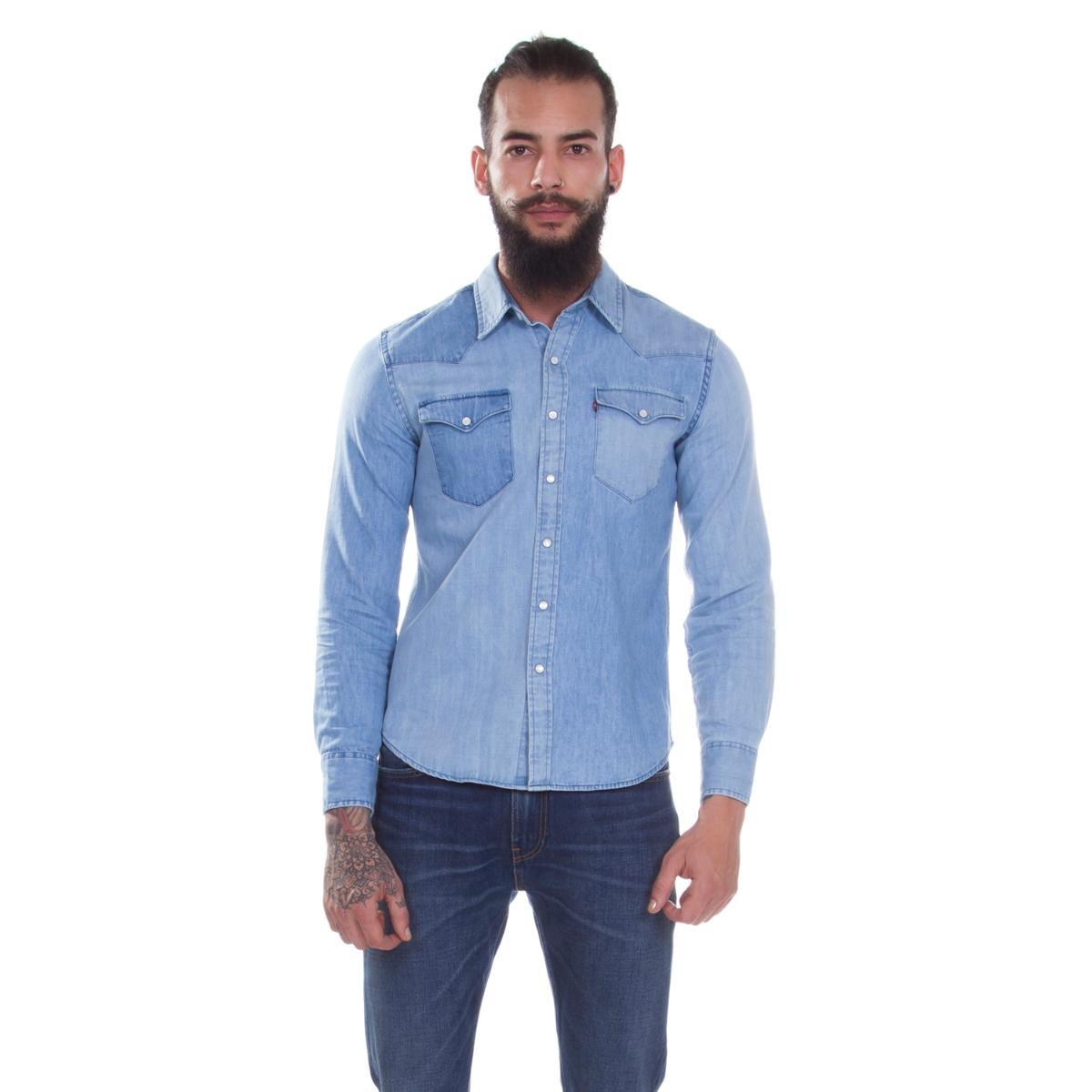 camisa levis masculina jeans classic western azul média. Carregando zoom. d49771b7267