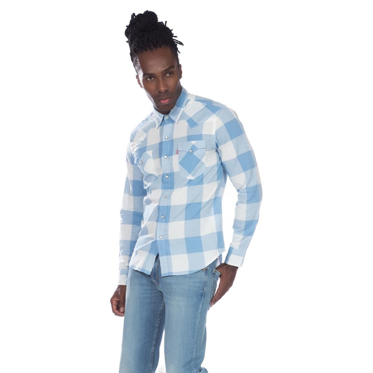 camisa levis masculino classic western xadrez azul claro. Carregando zoom. 11465a61773