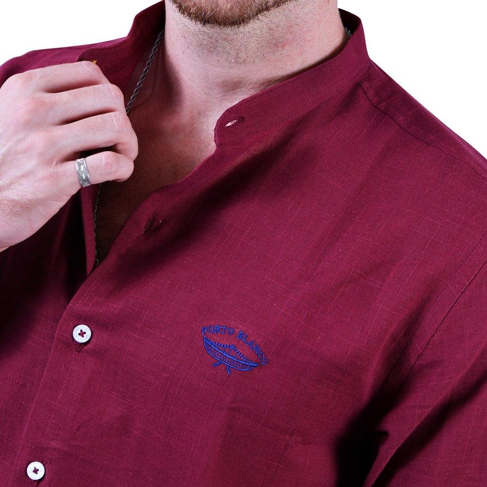 34a3d3f4d5504 Camisa Lino Porto Blanco Caballero Cuello Mao Tinto E-702 -   699.00 ...