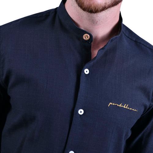 camisa lino porto blanco hombre cuello mao negra e-661
