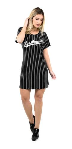 camisa longline los angeles vestido camisão feminino 284