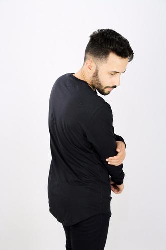 camisa longline oversized basica manga longa masculina