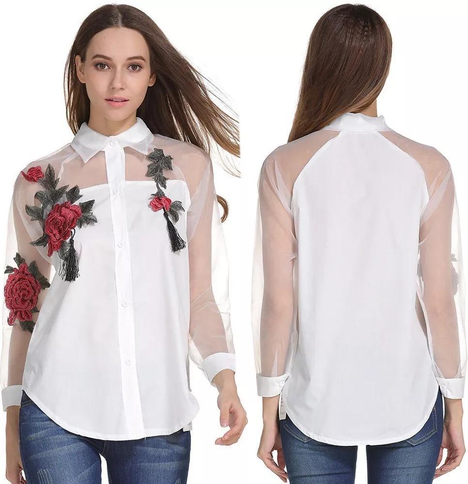 22df56f53 camisa luxo feminina floral blusa de tule renda bordada. Carregando zoom.