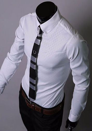 camisa luxury hombre cotton blend slim fit long sleeve solid