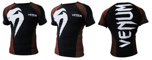 camisa lycra giant preto marrom manga curta venum