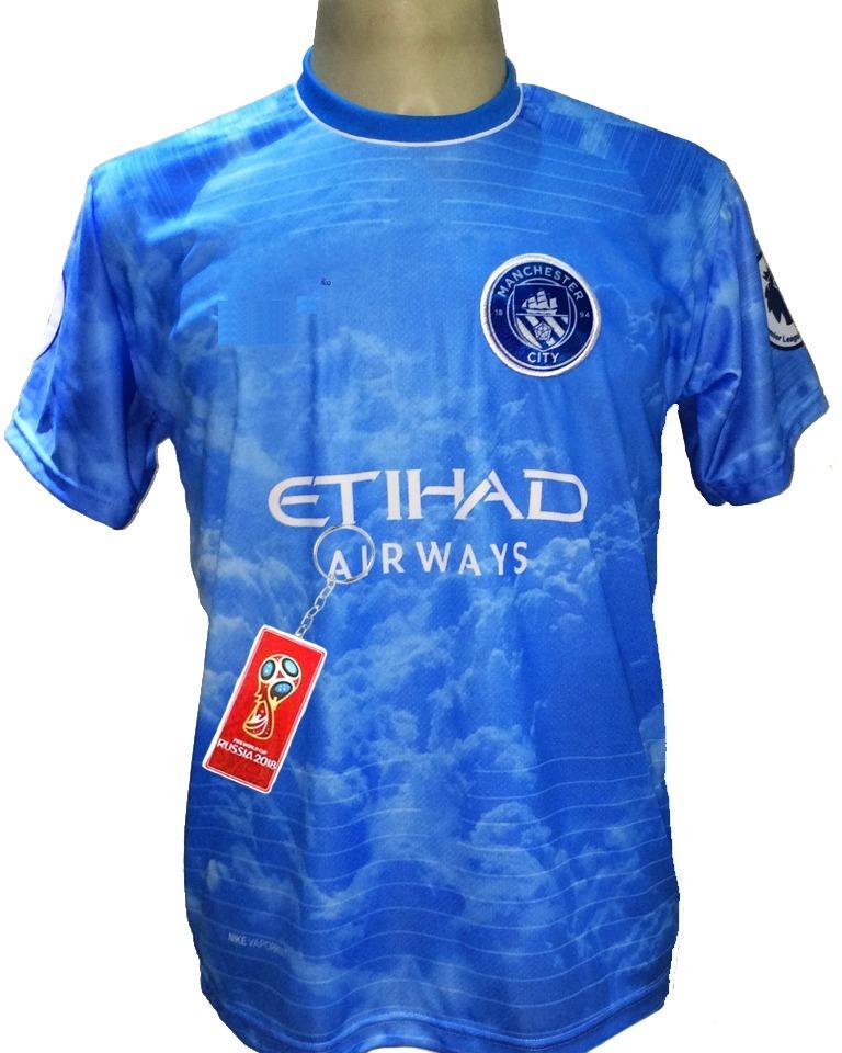 Camisa Manchester City Azul Aguá Céu Nova 2019 - R  29 46413dc9cc68a