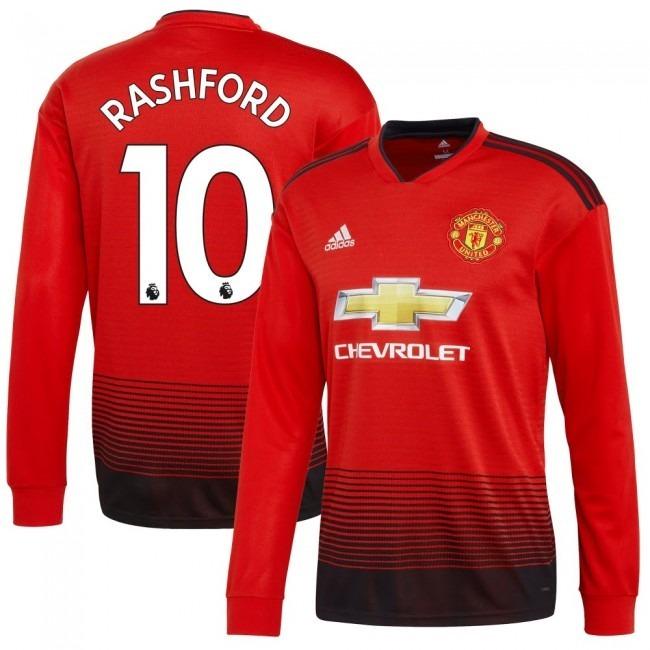 64cd07e3bc772 Camisa Manchester United Home 18-19 Rashford 10 Manga Longa - R  180 ...
