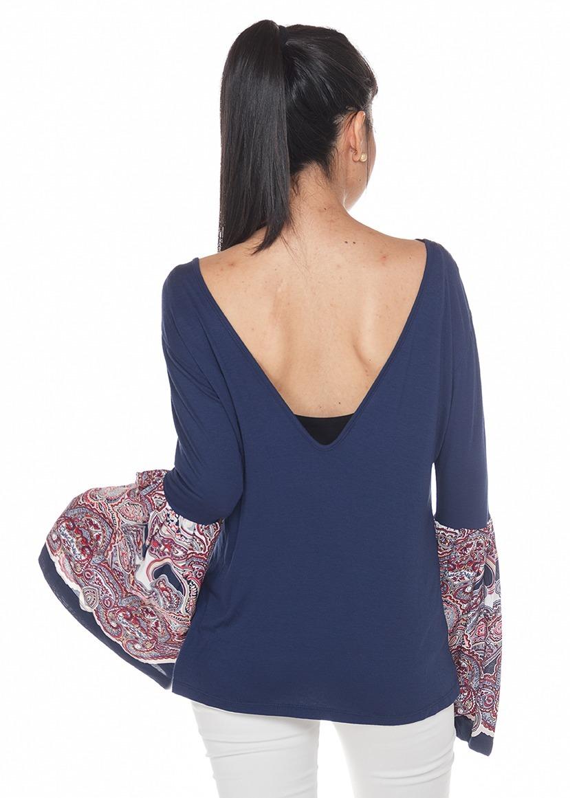 c392bfa4b6ac Camisa Manga Campana Azul Mujer
