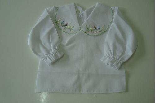 camisa manga compr bordada gola a mão bebe nene blusa pagao
