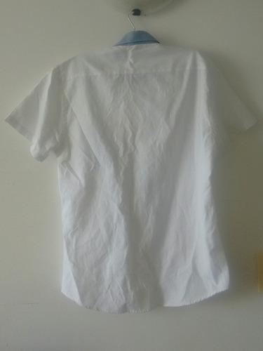 camisa manga corta blanca celeste talla l slim fit about