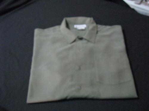 camisa manga corta columbia talla l color verde impecable