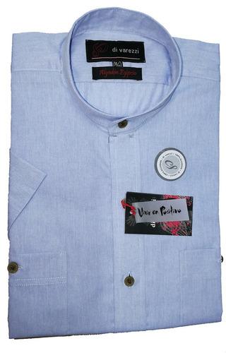 camisa manga corta cuello mao dos bolsillos plaque algodón