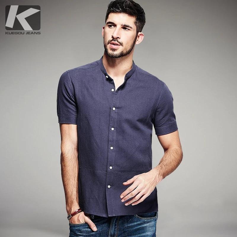 Kuegou Hombre Camisas De Manga Corta Cuello Mao Camisas 1c986c51cd2
