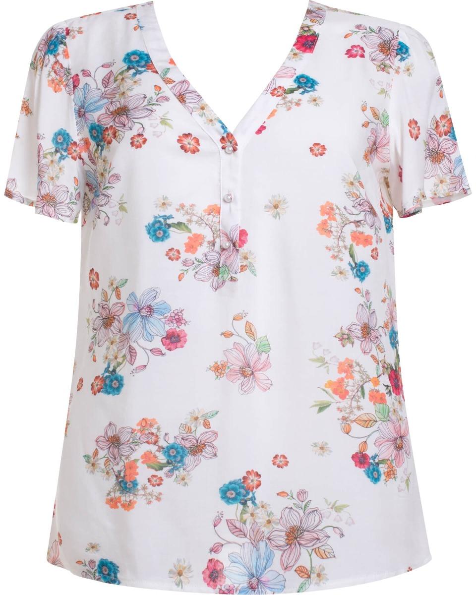 72fd97e22 Carregando zoom... manga curta camisa. Carregando zoom... camisa feminina  manga curta em viscose estampada floral seik