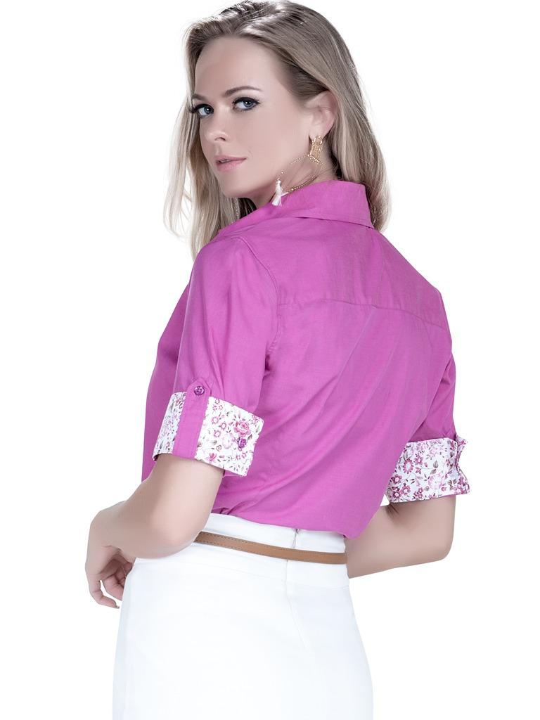 b97d61eda8 Carregando zoom... manga curta camisa. Carregando zoom... camisa feminina  manga curta 3 4 violeta principessa marie