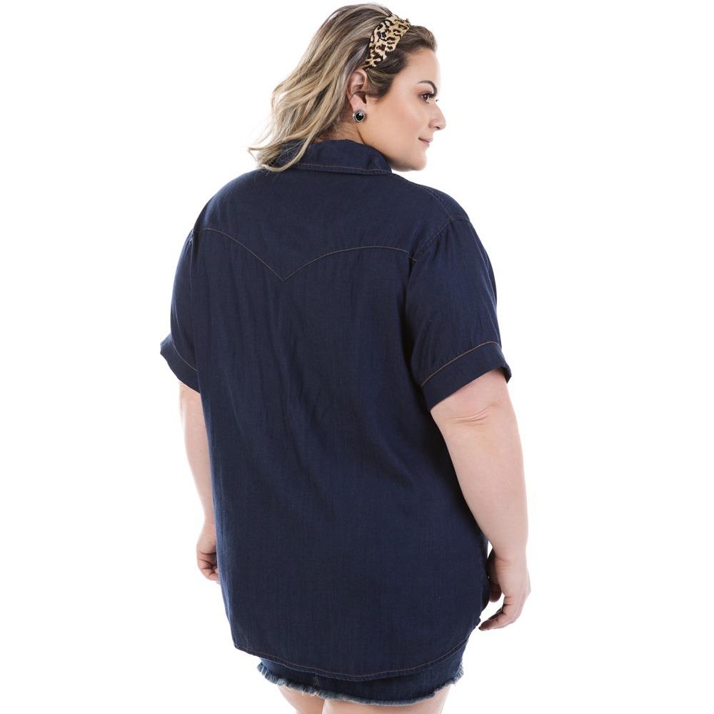 camisa jeans feminina judy manga curta plus size bvm207. Carregando zoom... camisa  manga curta. Carregando zoom. 1799fd376b9de