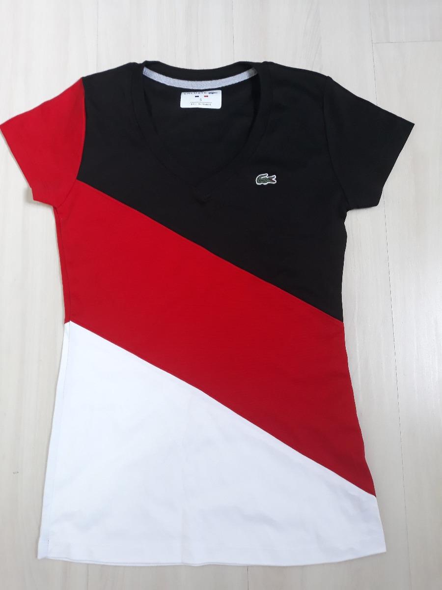6829679692423 Camisa Manga Curta Lacoste Feminina Importada Peruana - R  99