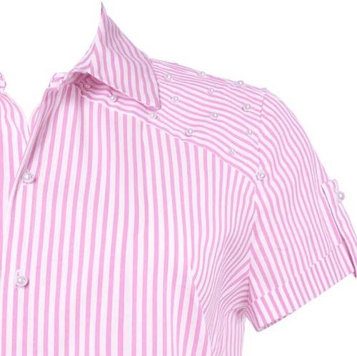 camisa manga curta listrada com bordado de pérolas seiki 320
