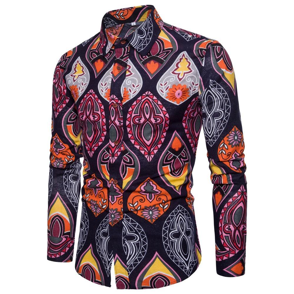 55aef1c56f81e camisa manga larga de moda estampado floreado para hombre. Cargando zoom.