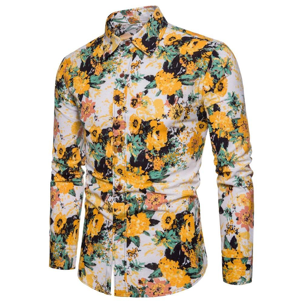 1b82fcaa07 camisa manga larga de moda estampado floreado para hombre. Cargando zoom.