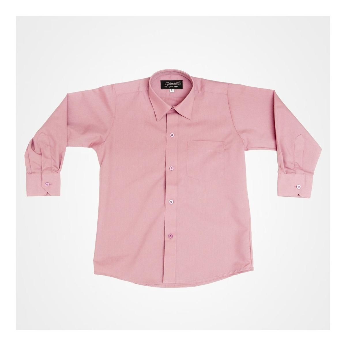 Camisa Manga Larga De Vestir Marca Gabrielito Palo De Rosa