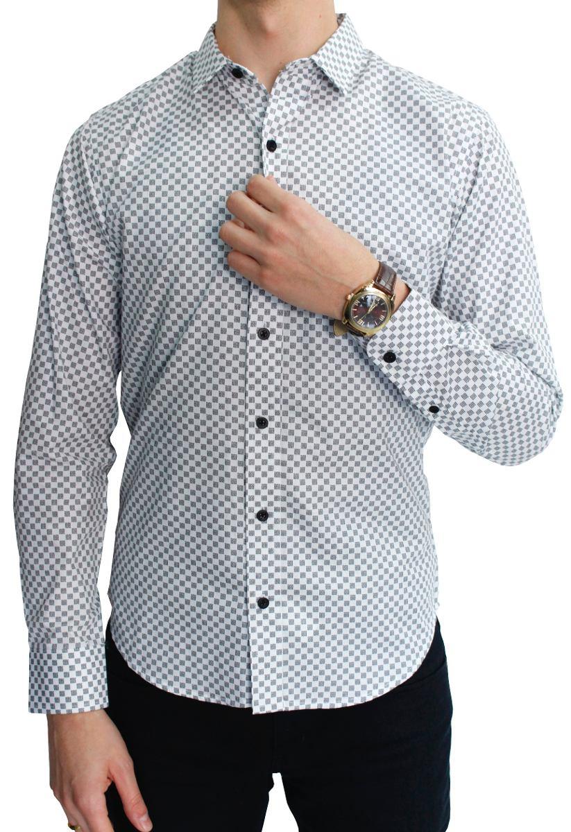 50325eabfd Camisa Manga Larga Estampado Cuadro Blanco -   469.00 en Mercado Libre
