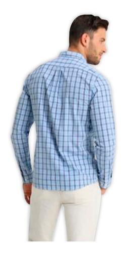 camisa manga larga izod hombre color azul a cuadros talla l