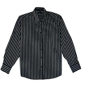 eb16924b21 Camisa Manga Larga Negra Rayas Blancas 100% Algodon Comoda