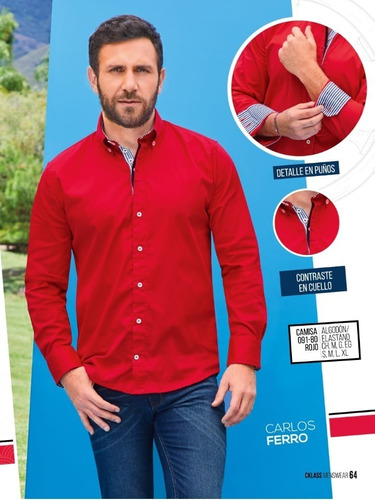 camisa manga larga roja  p/caballero cklass 091-80 pv-19