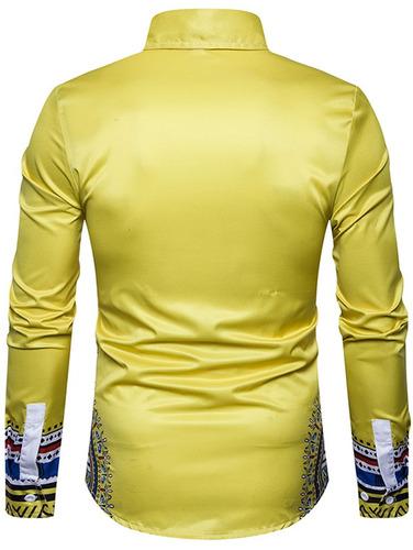 camisa manga largo impresión nacional geométrico diseño c