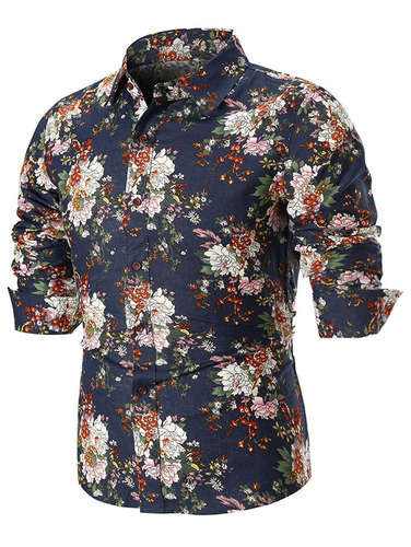 camisa manga largo impresión por todas partes peonía