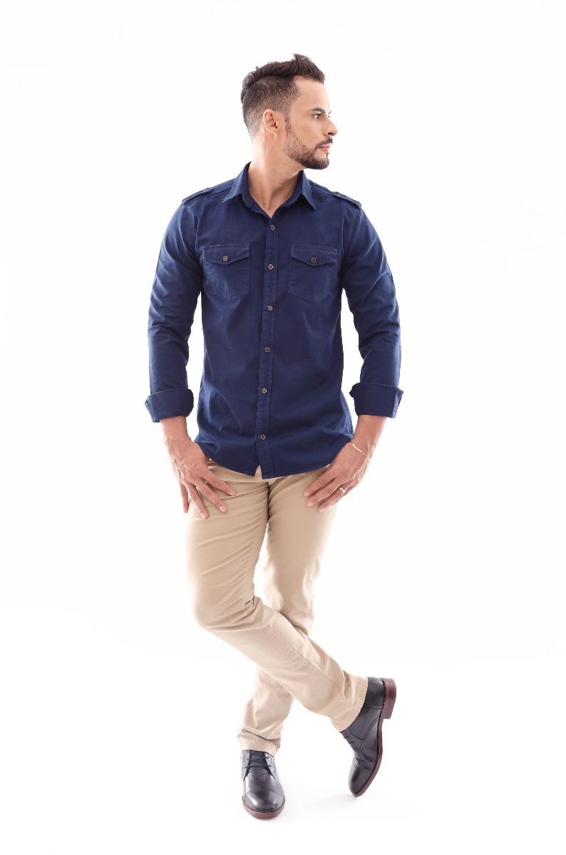 921d5b9443 camisa amil slim paris manga longa estilo militar 2 bolsos. Carregando  zoom... camisa manga longa. Carregando zoom.