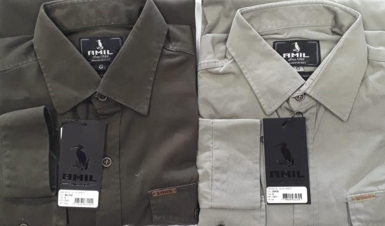f3220b5779 camisa amil slim manga longa estilo militar 2 bolsos 4 cores. Carregando  zoom... camisa manga longa