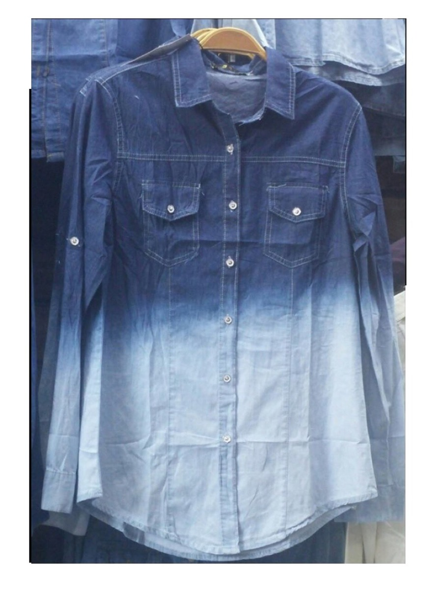 c4fb1589bc Atacado Kit 10 Camisa Jeans Degrade Feminina Manga Longa - R  345