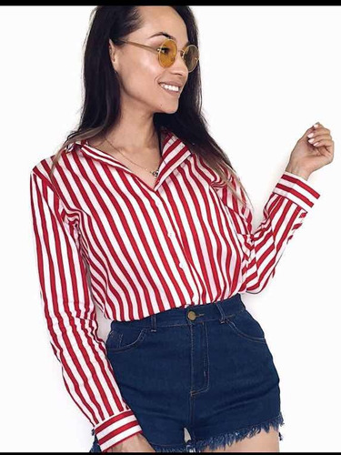 6245694bc camisa feminina listrada manga longa ou ciganinha 2 em 1 · camisa manga  longa