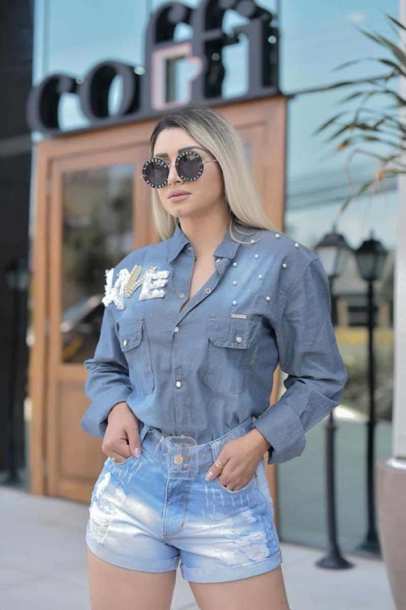 c53b3b1915 blusa camisa feminina jeans manga longa pedras bordada. Carregando zoom... camisa  manga longa. Carregando zoom.